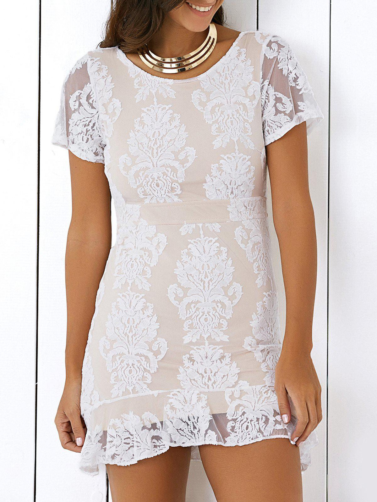 Alluring Women's Open Back Ruffled Lace Dress - OFF WHITE ONE SIZE