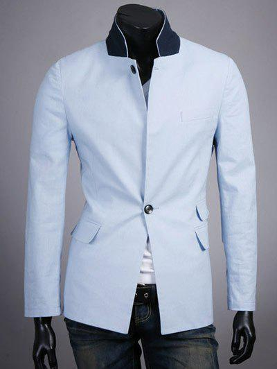 Splicing Design One-Button Stand Collar Long Sleeve Blazer - AZURE 2XL
