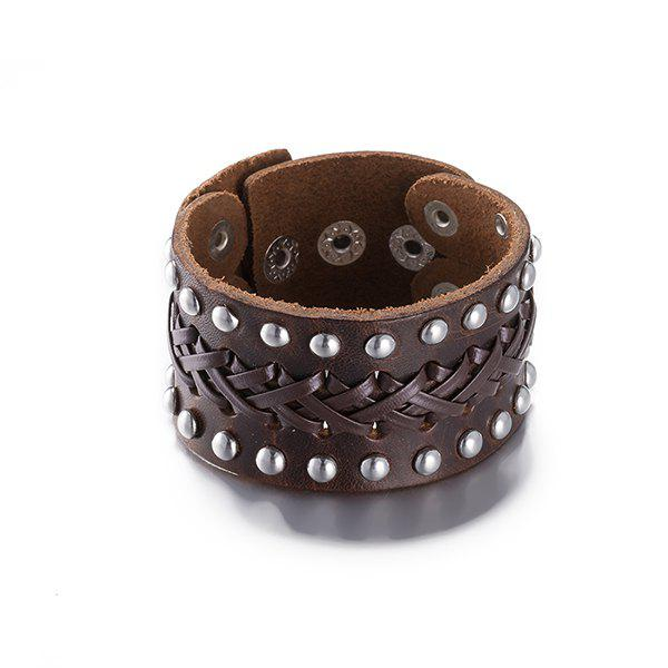 Punk Faux Leather Rivets Bracelet - BROWN