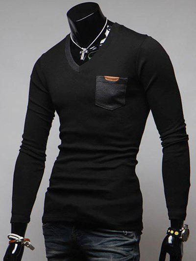 V-Neck Breast Pocket Long Sleeve T-Shirt - BLACK 2XL