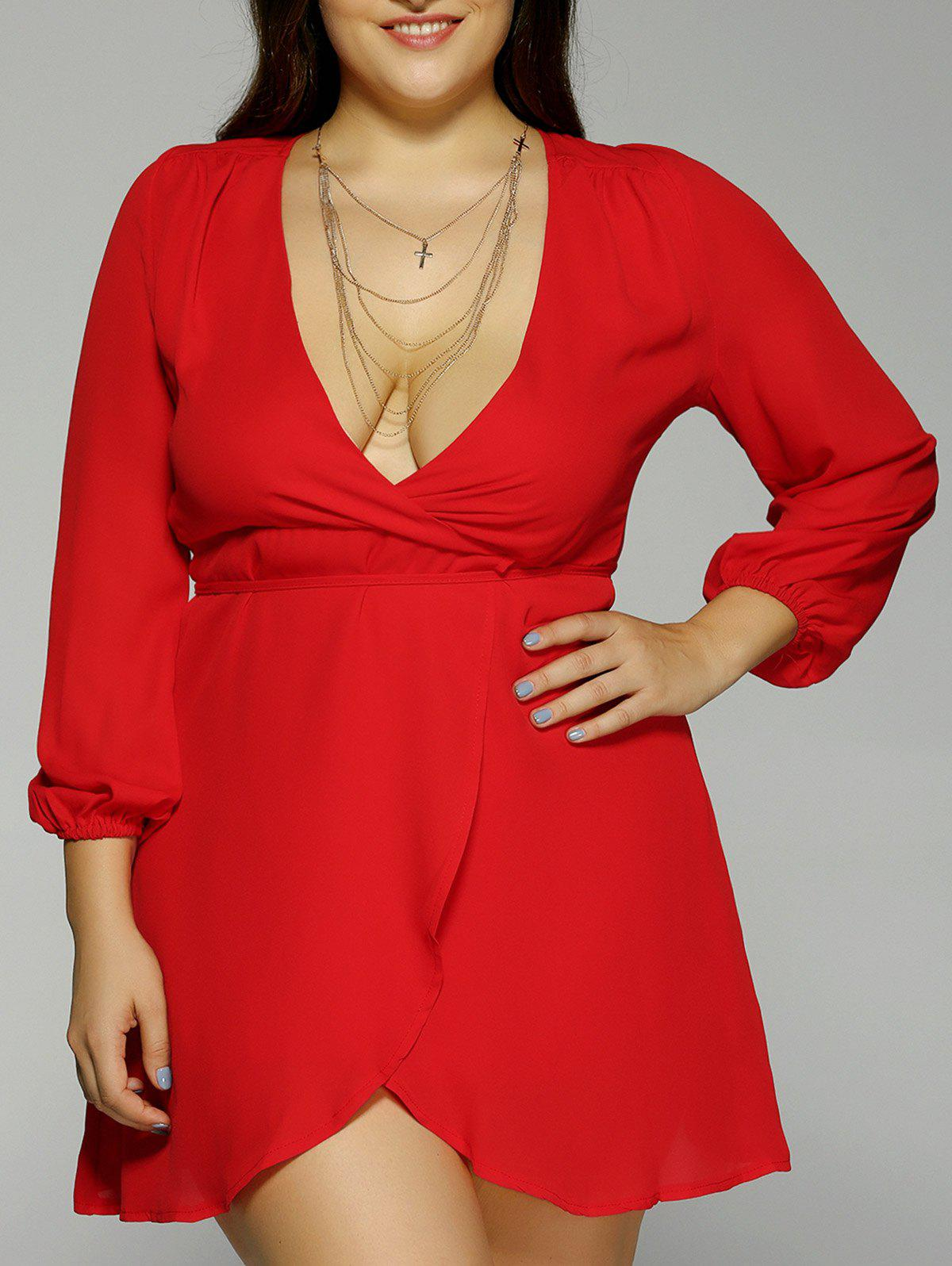 Plus Size Plunging Neck Long Sleeve Dress