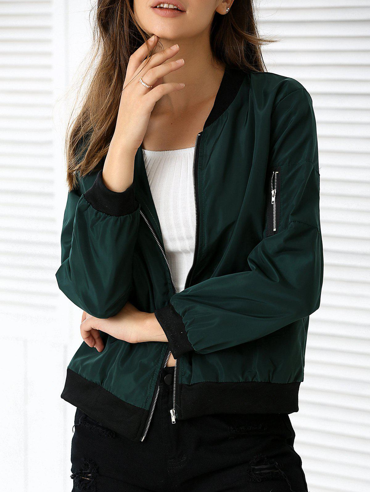 Zipper Design Pocket Bomber Jacket - DEEP GREEN XL