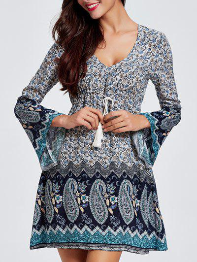 Bell Sleeves Hollow Out Flowers Print Dress
