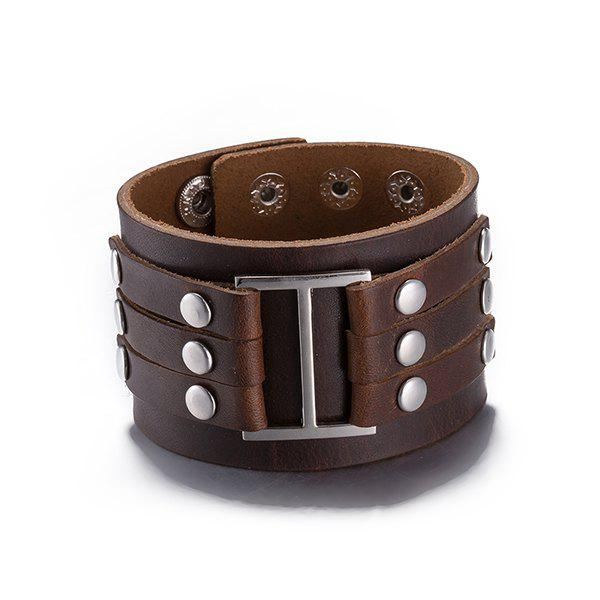Layered Faux Leather Bracelet -  BROWN