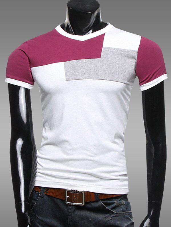 V-Neck Color Splicing Short Sleeve T-Shirt - WINE RED L
