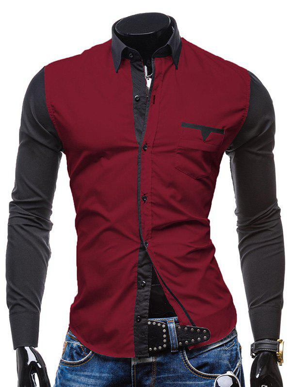 Slimming Shirt Collar Vogue Pocket Design Color Block Splicing Long Sleeve Men's Polyester Button-Down Shirt - WINE RED M