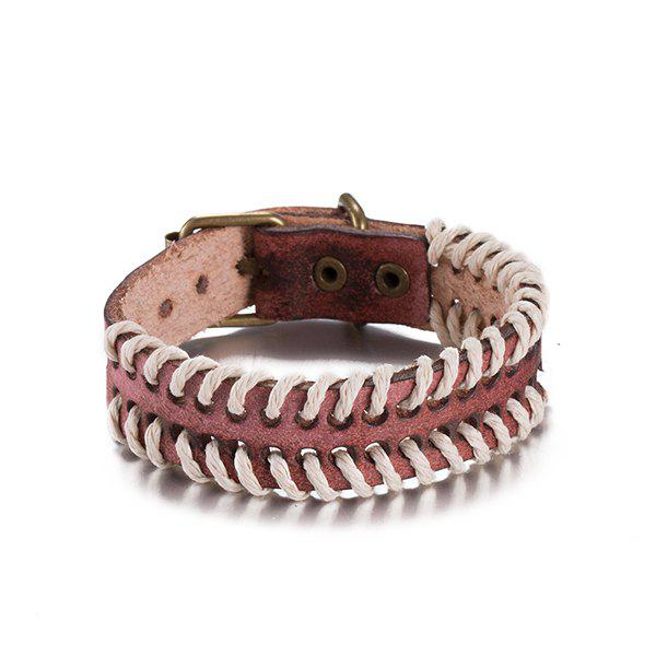 Woven Rope Faux Leather Bracelet - RED BROWN