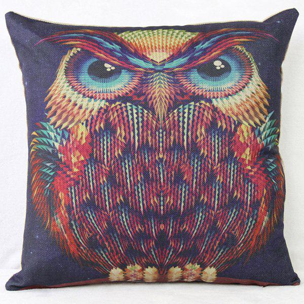 Flax Colorful Long Eyebrows Owl Pattern Pillow Case