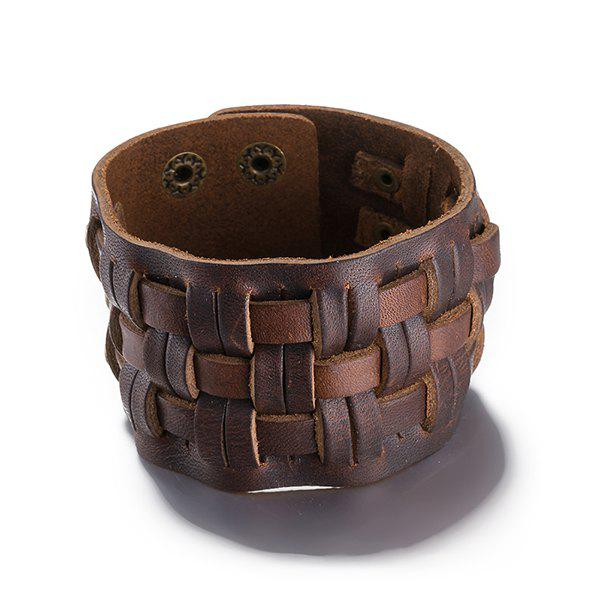 Punk Style Woven Faux Leather Bracelet - BROWN