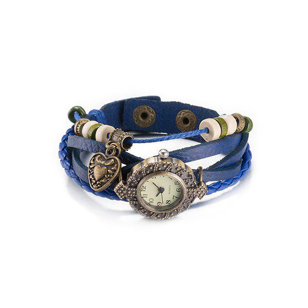 Trendy Faux Leather Heart Watch Bracelet -  BLUE