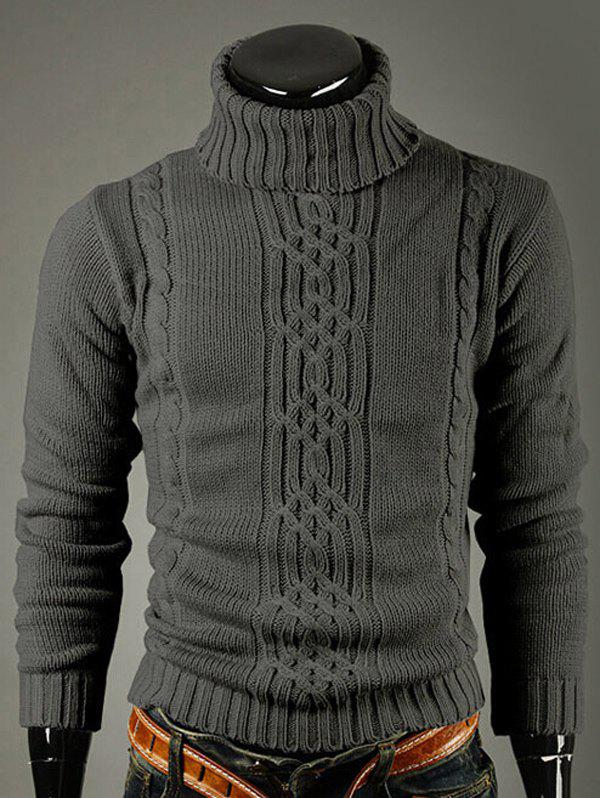 Long Sleeve Turtleneck Ribbed Twist Sweater - DEEP GRAY XL