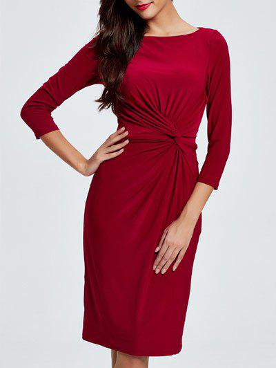 3/4 Sleeves Twist Front Sheath Dress - RED 2XL
