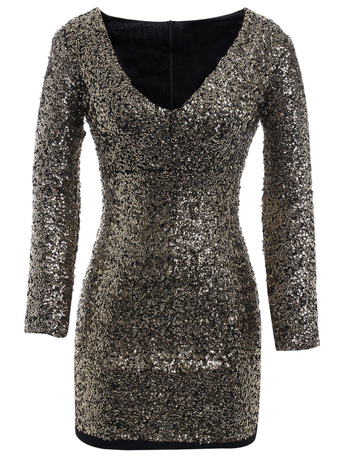 Image of Plus Size Long Sleeve Sequined Bodycon Dress