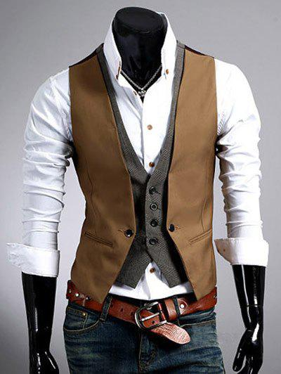 Color Block Splicing Design Faux Twinset V-Neck Single Breasted Waistcoat - CAMEL 2XL