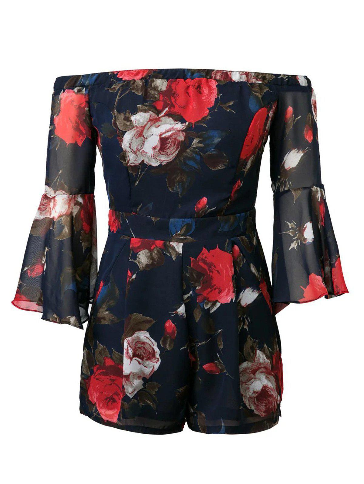 Off-The-Shoulder Flowers Print RomperWomen<br><br><br>Size: L<br>Color: PURPLISH BLUE