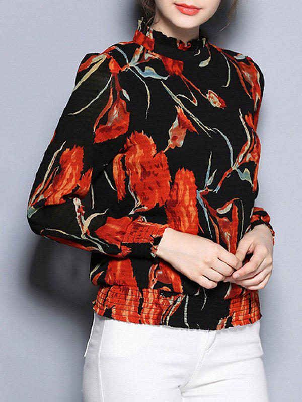 Long Sleeve Floral Print Slimming Blouse - BLACK XL