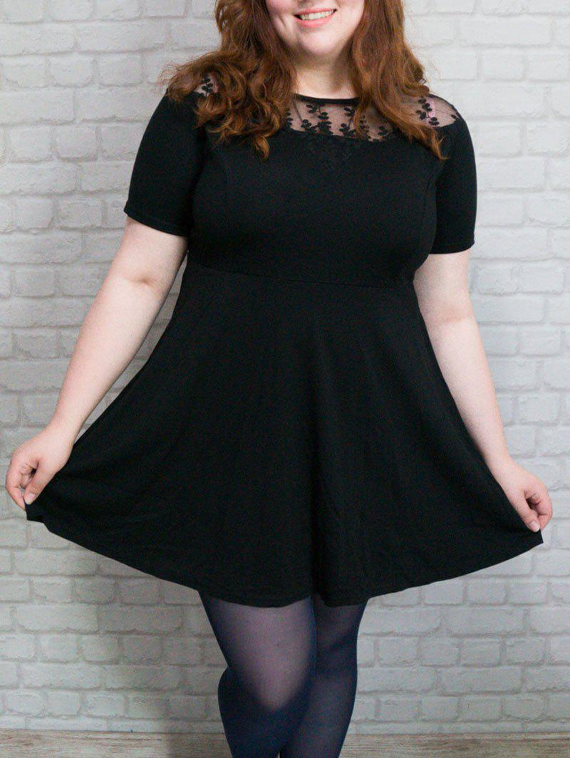Stylish Plus Size Pure Color See-Through Women's Dress - BLACK 5XL