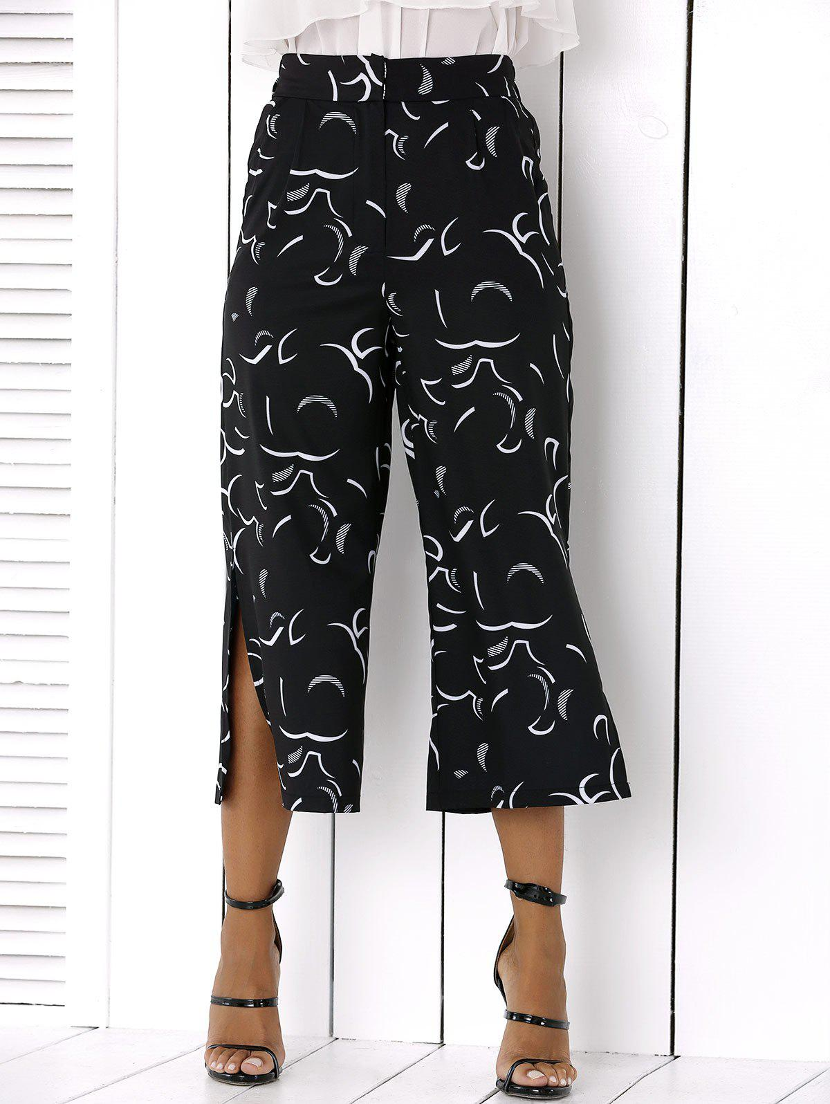 Side Slit Wide-Leg Capri Pants - BLACK 2XL