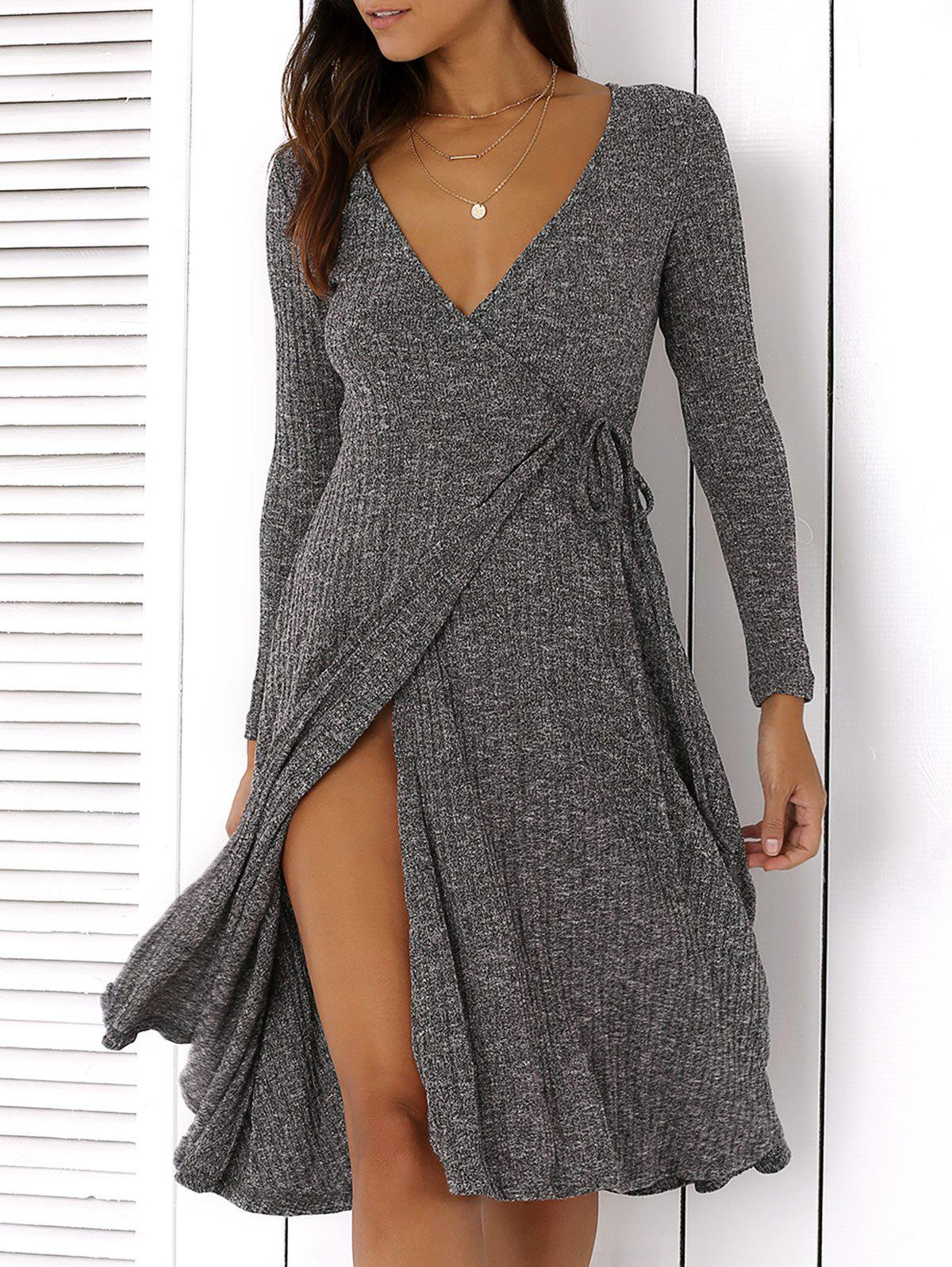Plunging Neck Tie-Side Long Sleeve Dress - GRAY 2XL