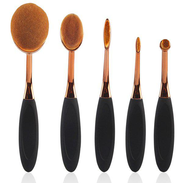 Cosmetic 5 Pcs Toothbrush Shape Nylon Makeup Brushes Set - ROSE GOLD