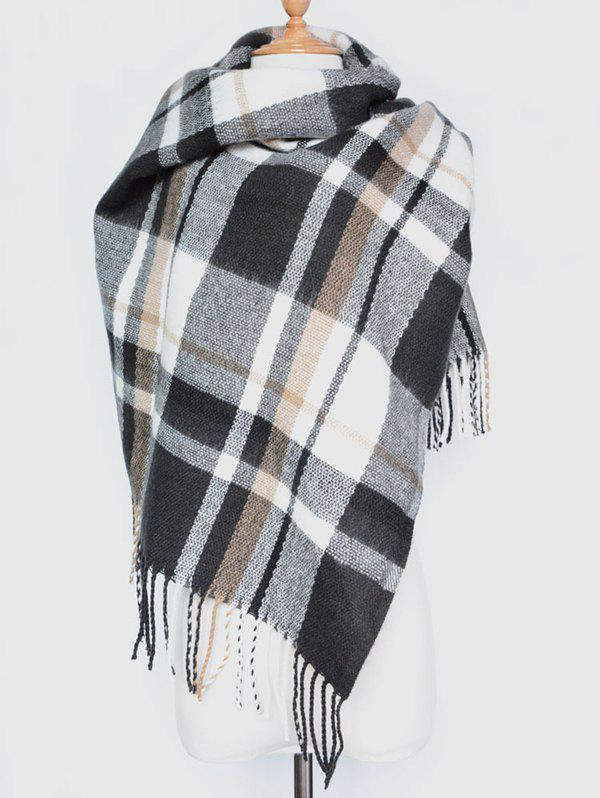 Winter Warm Plaid Tassel Edge Shawl Wrap Scarf - BLACK