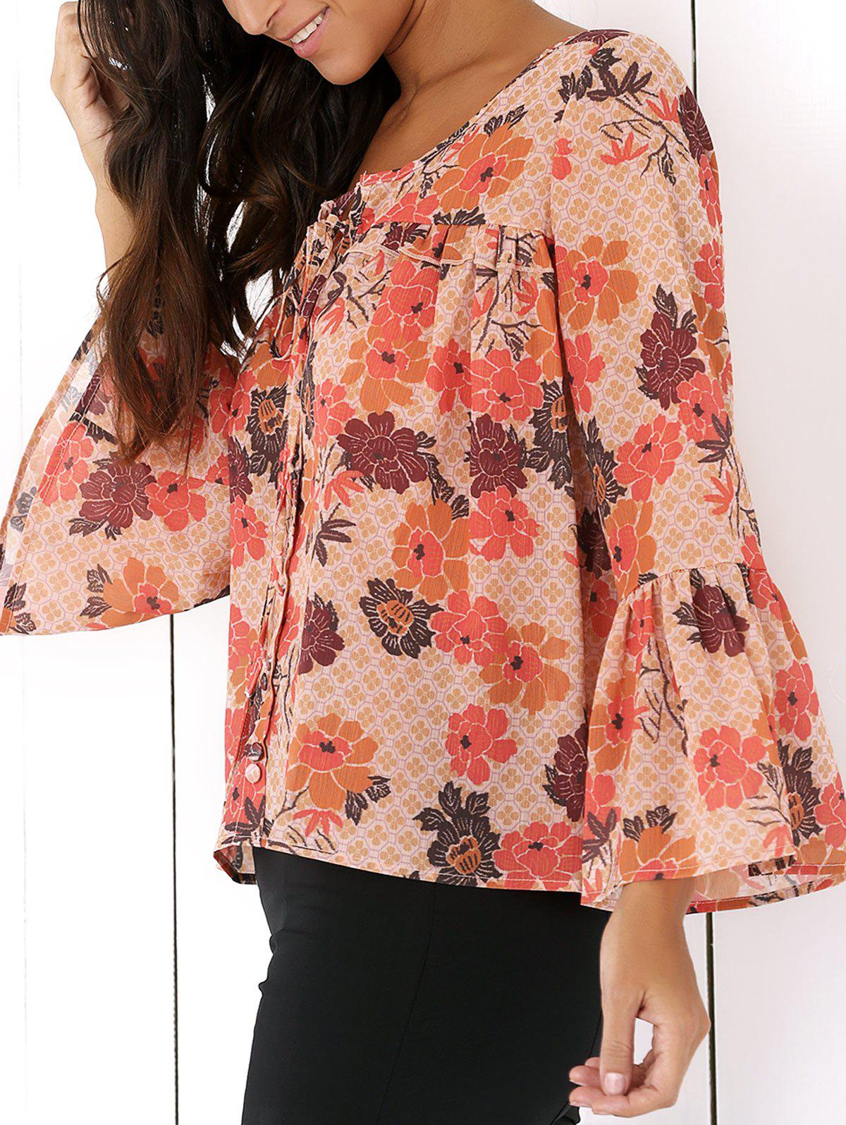Flowers Print Ruffles Blouse - COLORMIX XL