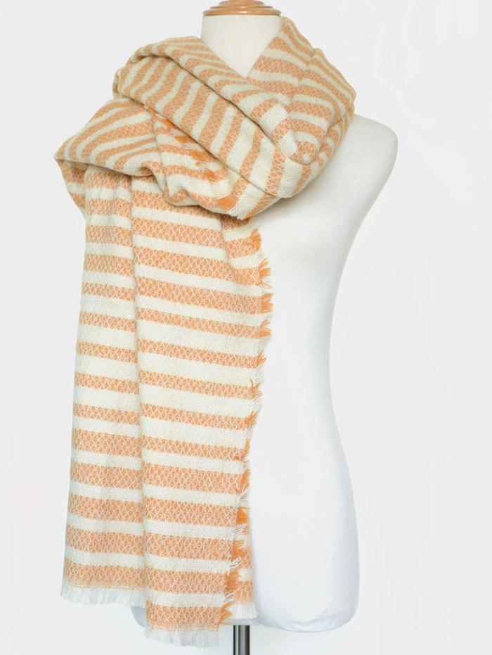 Winter Warm Stripe Fringed Edge Scarf - ORANGE YELLOW