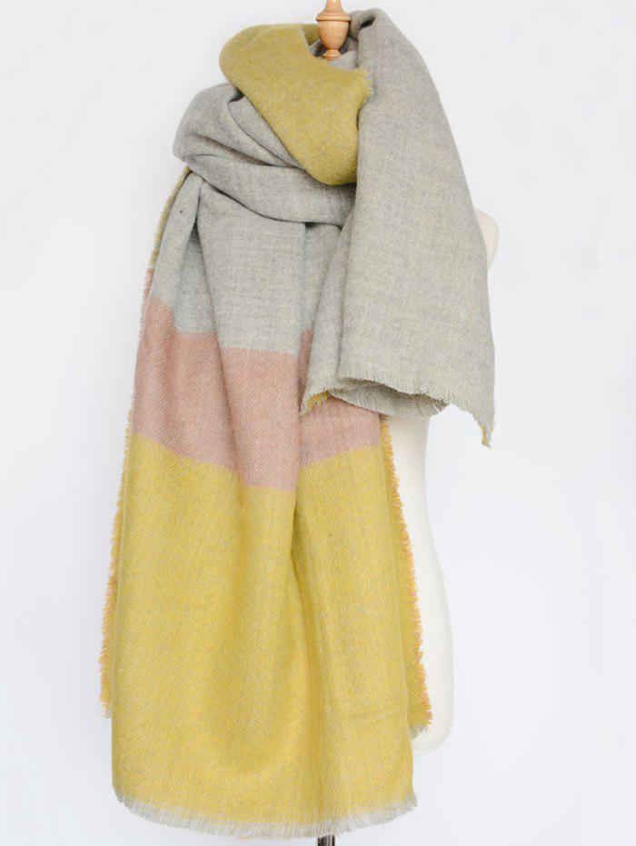 Winter Warm Wide Stripe Fringed Edge Scarf - YELLOW