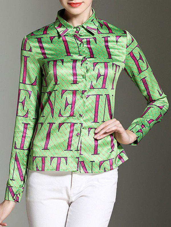 Shirt Collar Letter Print Button Design Satin Shirt - GREEN M