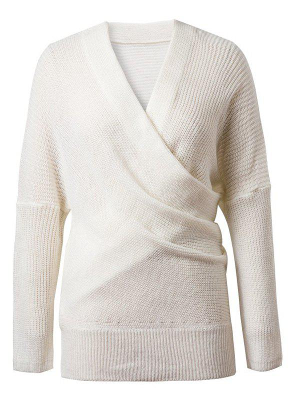 V-Neck Solid Color Knitted Sweater - WHITE ONE SIZE