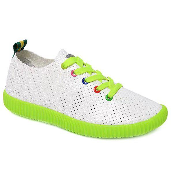 Preppy Breathable and Colorful Eyelet Design Women's Athletic Shoes - NEON GREEN 39