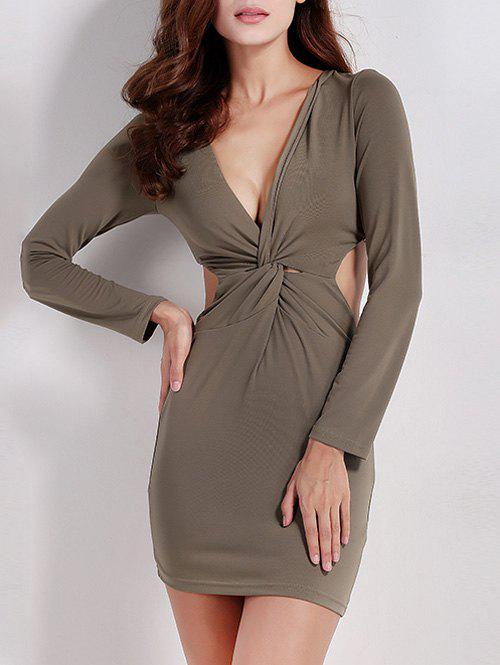 Twist Zip Long Sleeve Night Out Dress - ARMY GREEN XL