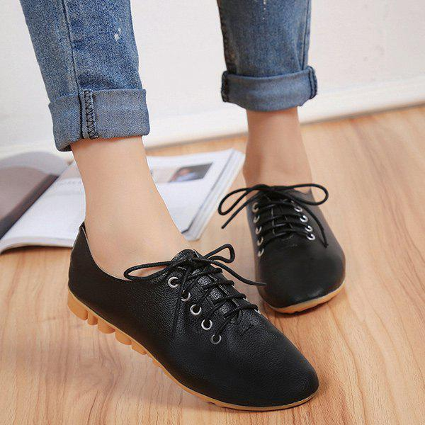 Leisure Round Toe and Tie Up Design Women's Flat Shoes - BLACK 37