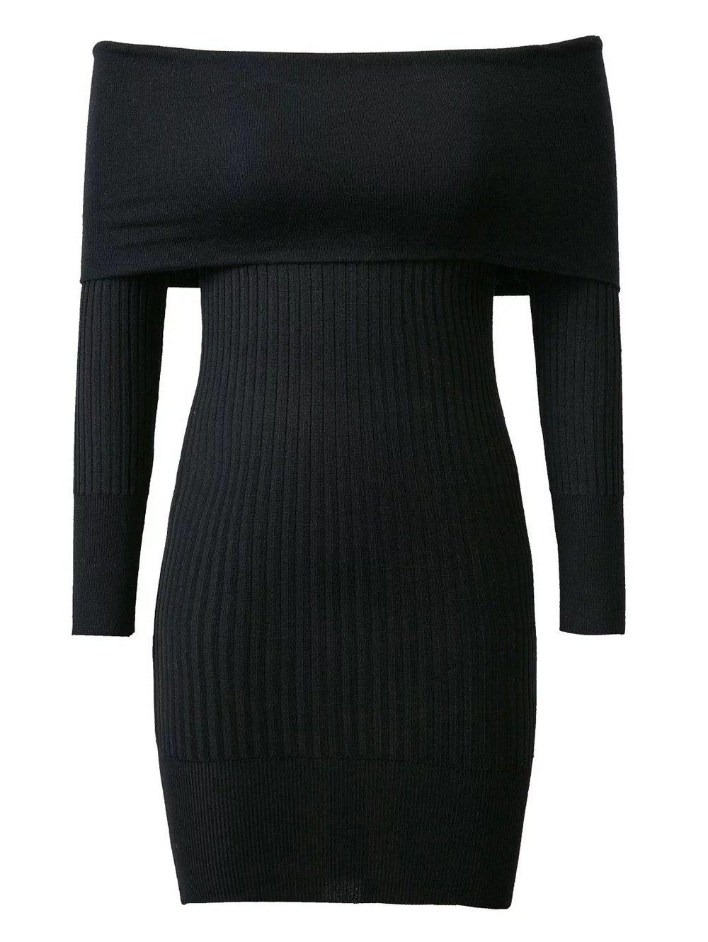 Knitted Off-The-Shoulder Slimming Dress - BLACK ONE SIZE