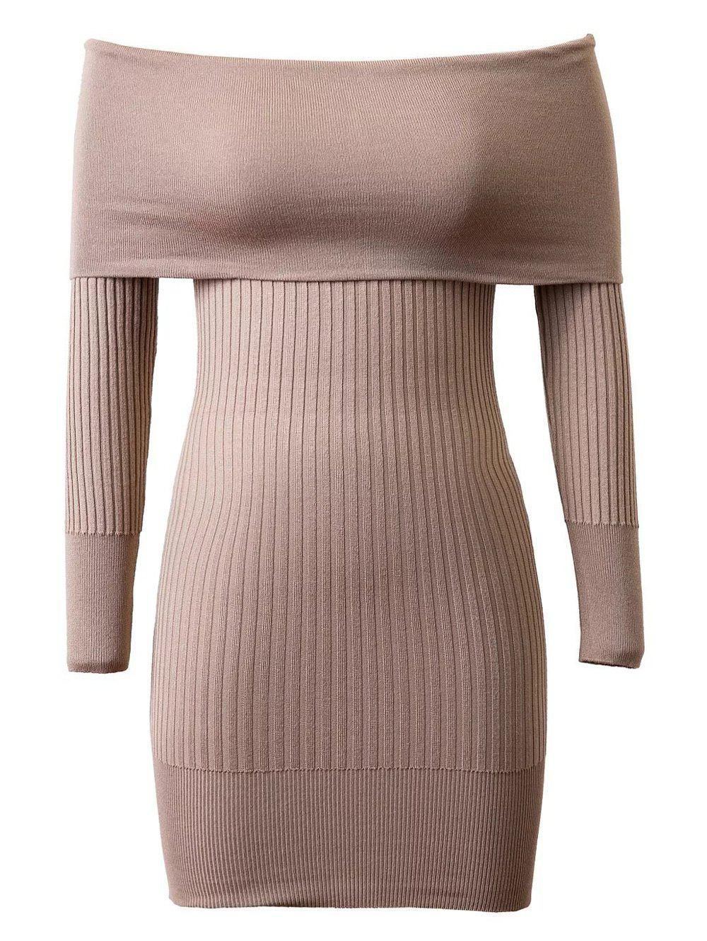 Knitted Off-The-Shoulder Slimming Dress - KHAKI ONE SIZE
