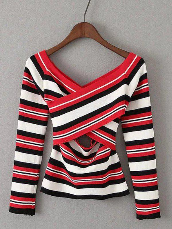 Striped Off-The-Shoulder Hollow Out Knitwear - RED ONE SIZE