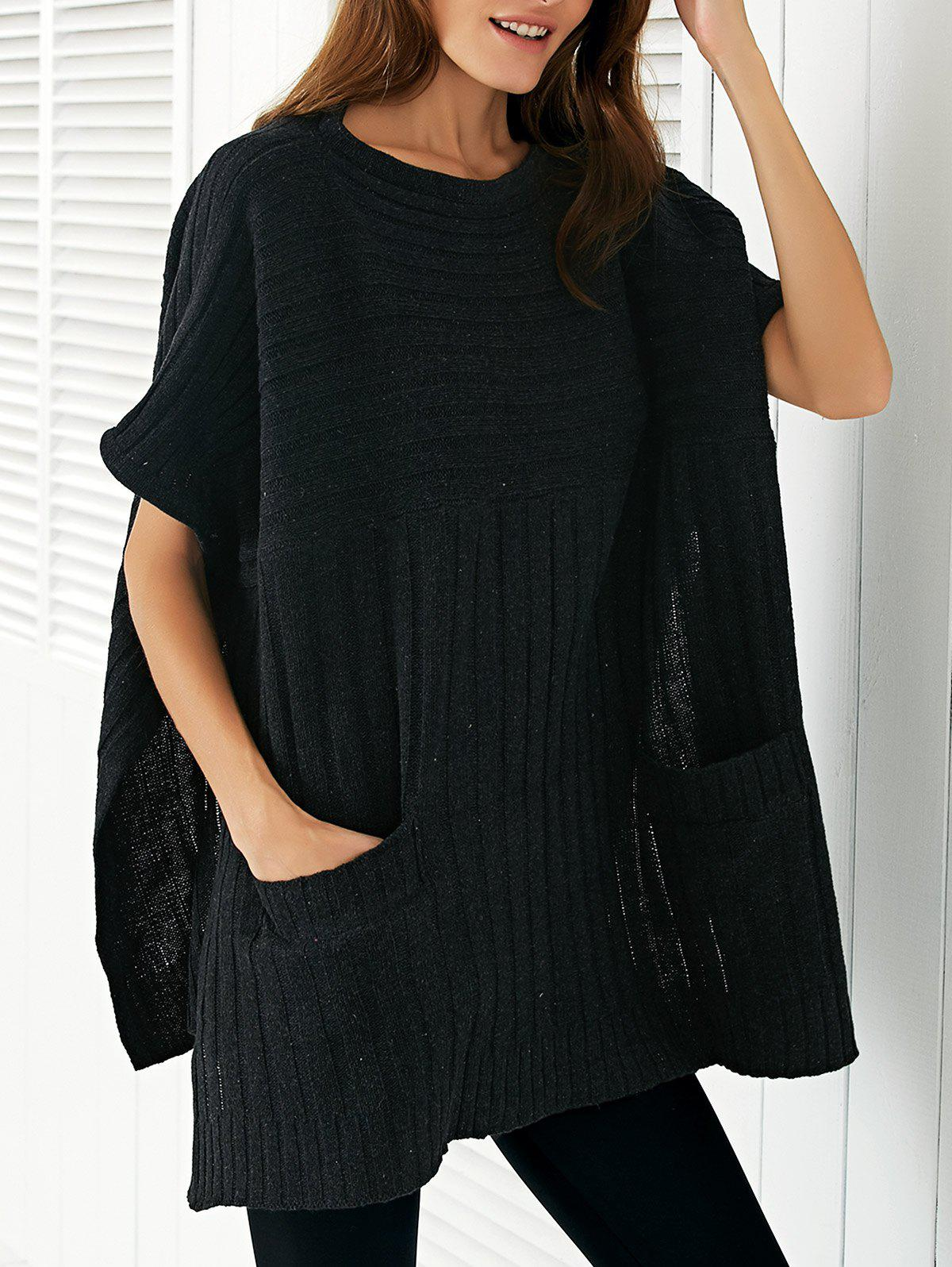Round Neck Slit Loose Ribbed Cape Sweater - BLACK ONE SIZE
