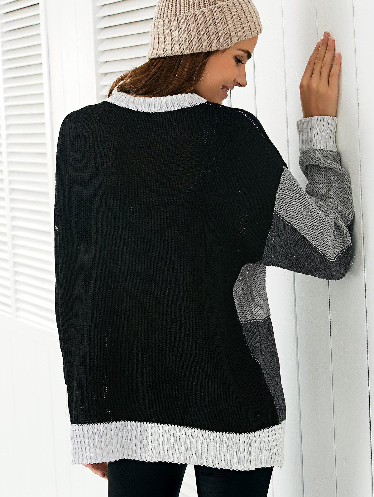 Round Neck  Color Block Sweater - BLACK ONE SIZE