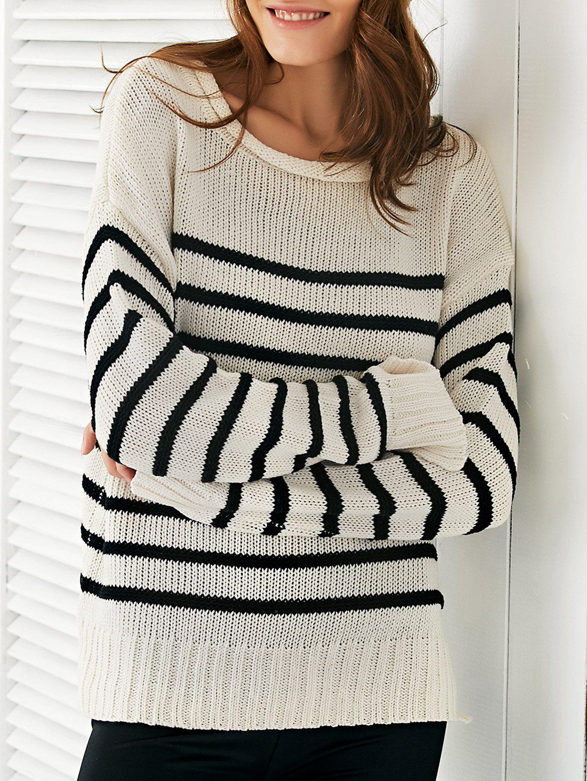 Scoop Neck Long Sleeve Stripe Loose Sweater - ONE SIZE OFF WHITE