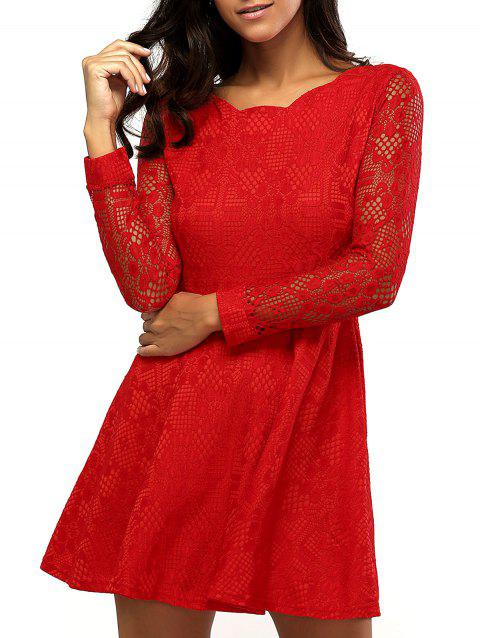Lace Sleeve Scalloped Neck Skater Dress - RED XL