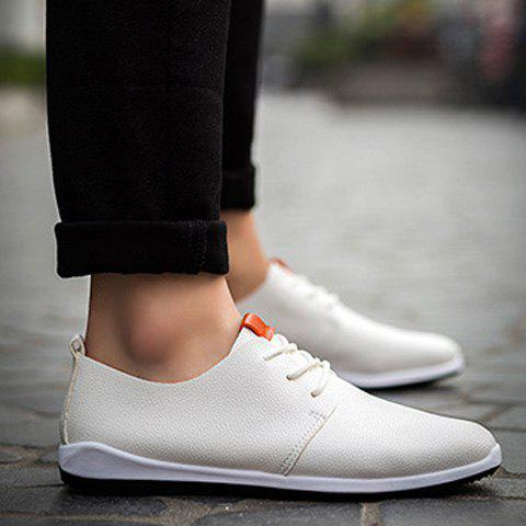 Concise PU Leather and Lace-Up Design Men's Casual Shoes - WHITE 44
