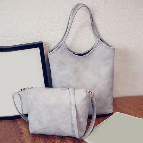 Simple Solid Colour and PU Leather Design Women's Shoulder Bag - GRAY