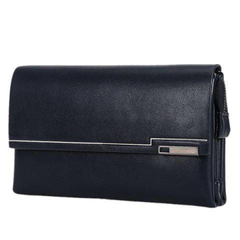 Stylish Magnetic Closure and Dark Color Design Men's Wallet - DEEP BLUE