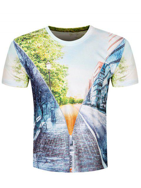 Short Sleeve Road Scenery 3D Print Tee - COLORMIX M