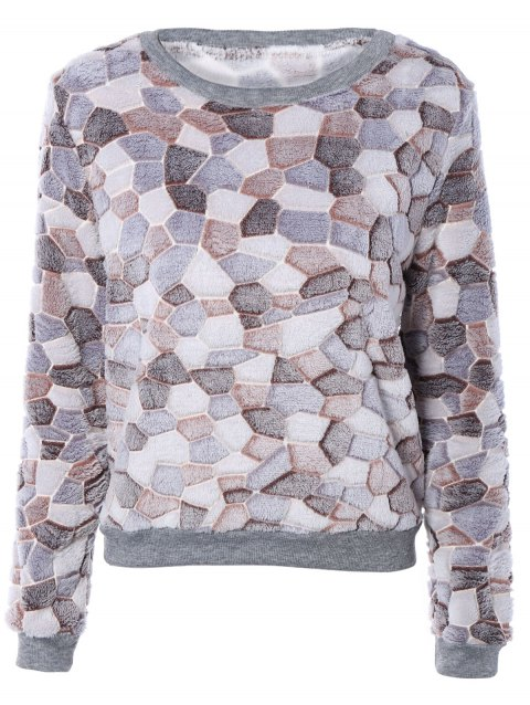 Manches longues Color Block Fleece Sweatshirt - Brun XL