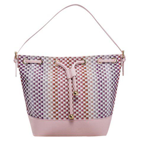 Stylish Tiny Plaid and Splicing Design Women's Shoulder Bag - PINK