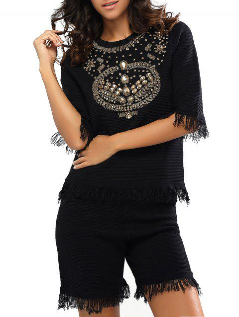 Beaded Rhinestone Embellished Fringed T-Shirt and Shorts Twinset - BLACK ONE SIZE