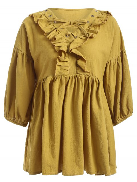 Flounce Trim Eyelet Button Lace-Up Pleated Dress - YELLOW ONE SIZE