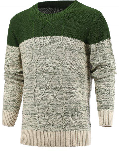 Round Neck Geometric Knitted Spliced Sweater - DEEP GREEN XL