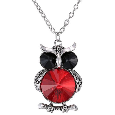 Faux cristal Owl Sweater Chain - Rouge